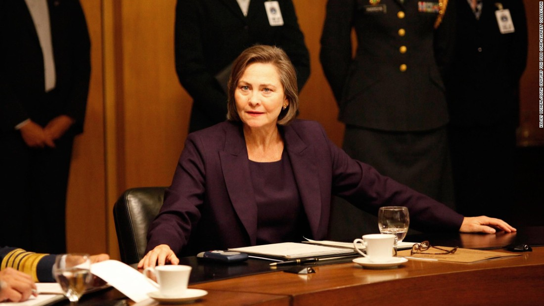 "Cherry Jones stars as President Allison Taylor in seasons 7 and 8 of ""24""<em> </em>on Fox. Jones has said she hopes that her portrayal of Taylor might convince the American public that a woman can be president."