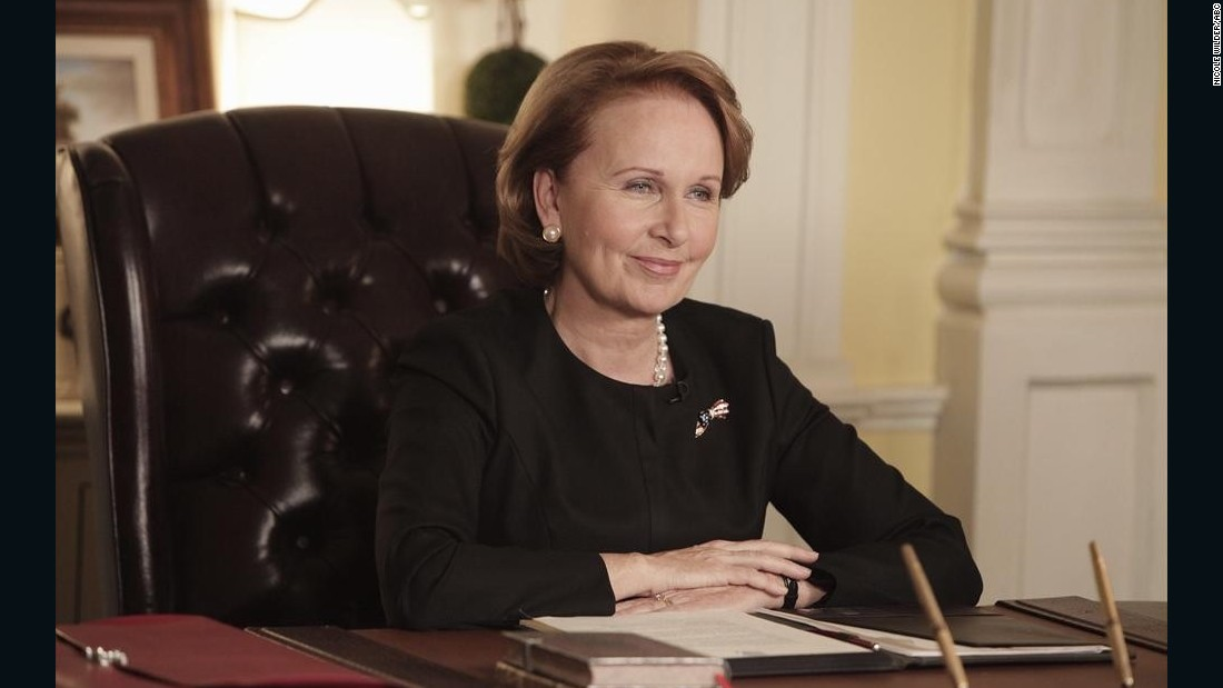 "Kate Burton plays Sally Langston on the ABC series ""Scandal<em>."" </em>Langston is the vice president to President Fitzgerald Grant but runs as an Independent in a bid to unseat him."