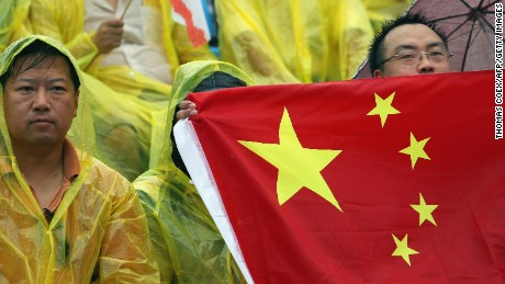 The correct Chinese national flag, displayed by fans at the 2008 Beijing Olympics.