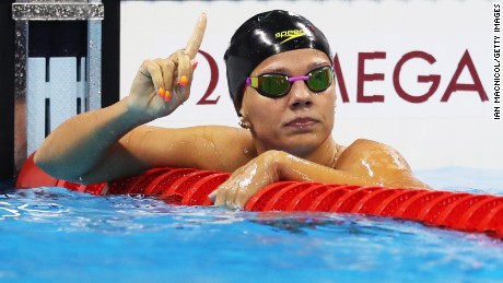 Yulia Efimova of Russia celebrates winning her semi final of the100m Breaststroke on day 2