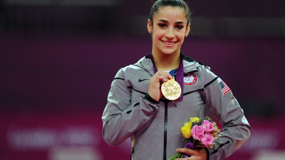 LONDON, ENGLAND - AUGUST 07:  Gold medalist Alexandra Raisman of the United States poses on the podium during the medal ceremony for the Artistic Gymnastics Women
