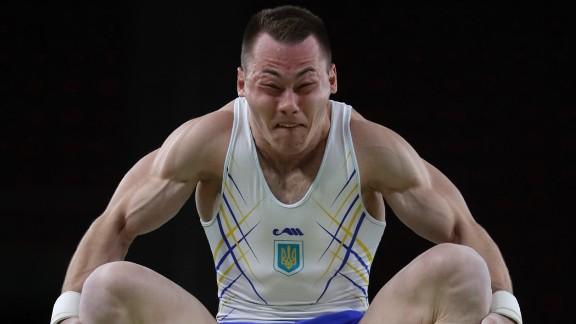 Ukraine's Igor Radivilov trains on the vault on Wednesday, August 3.