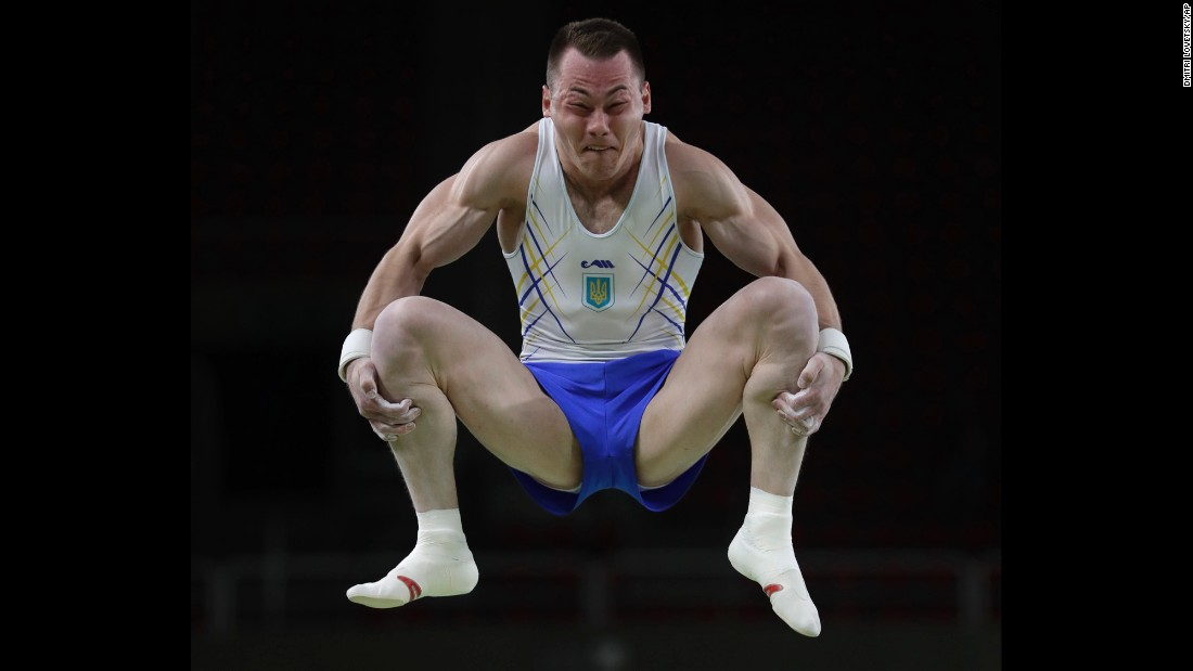 Ukraine's Igor Radivilov trains on the vault on Wednesday, August 3.