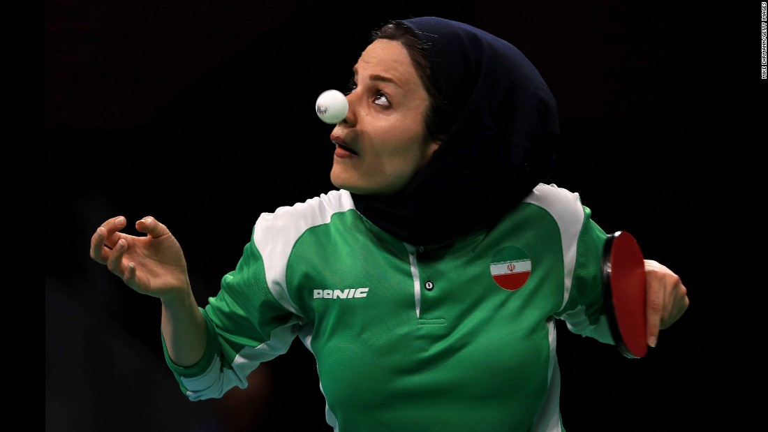 Iran's Neda Shahsavari plays a first-round table tennis match on Saturday, August 6.