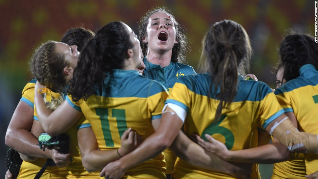 "Australian rugby players <a href=""http://www.cnn.com/2016/08/08/sport/womens-rugby-sevens-new-zealand-australia/index.html"" target=""_blank"">celebrate after defeating New Zealand</a> in the gold-medal match 24-17. This is the first year that rugby sevens has been played at the Olympics."