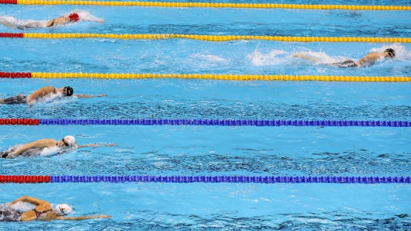 U.S. swimmer Katie Ledecky blows away the field in the 400-meter freestyle final on Sunday, August 7. The 19-year-old smashed her own world record to win in 3:56.46 -- nearly five seconds ahead of her closest rival.