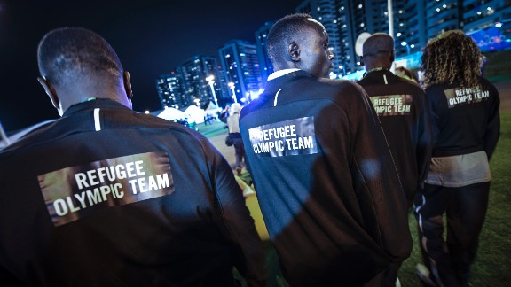 Athletes with the Refugee Olympic Team attend a welcoming ceremony on Wednesday, August 3. Half of the 10-member team is from South Sudan. Two members fled Syria, two left the Democratic Republic of the Congo, and one is originally from Ethiopia. Meet the team