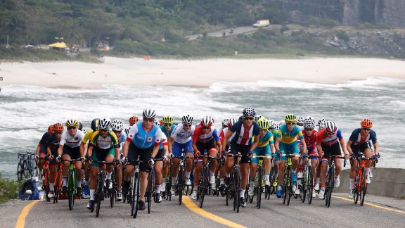 Cyclists race in the women's road race on Sunday, August 7.
