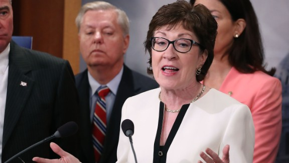 Sen. Susan Collins (R-ME), while flanked by bipartian Senate colleagues during a news conference on Capitol Hill, June 21, 2016 in Washington, DC.
