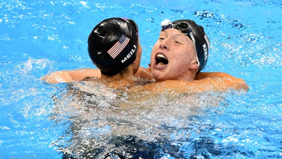 Lilly King, right, celebrates with American teammate Katie Meili after winning the 100-meter breaststroke on Monday, August 8. Leading up to the final, King had called out Russian rival Yulia Efimova, who faced two bans for performance-enhancing drugs before eventually being allowed to swim in Rio de Janeiro. Efimova finished in second place. Meili got the bronze.