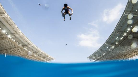 A diver practices at the Maria Lenk Aquatics Centre on Thursday, August 4.