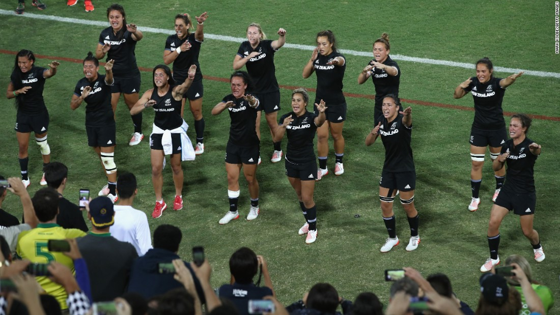 New Zealand's rugby team performs a haka dance for their supporters after the final.