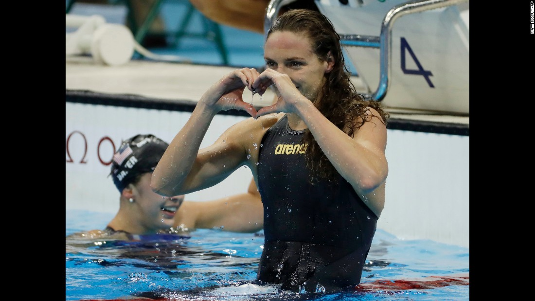 Hungary's Katinka Hosszu celebrates after winning the 100-meter backstroke. It was her second gold medal in Rio.
