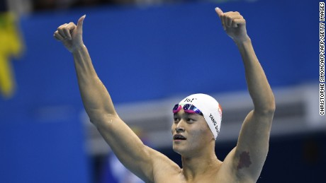 China's Sun Yang celebrates after he won the Men's 200m Freestyle Final
