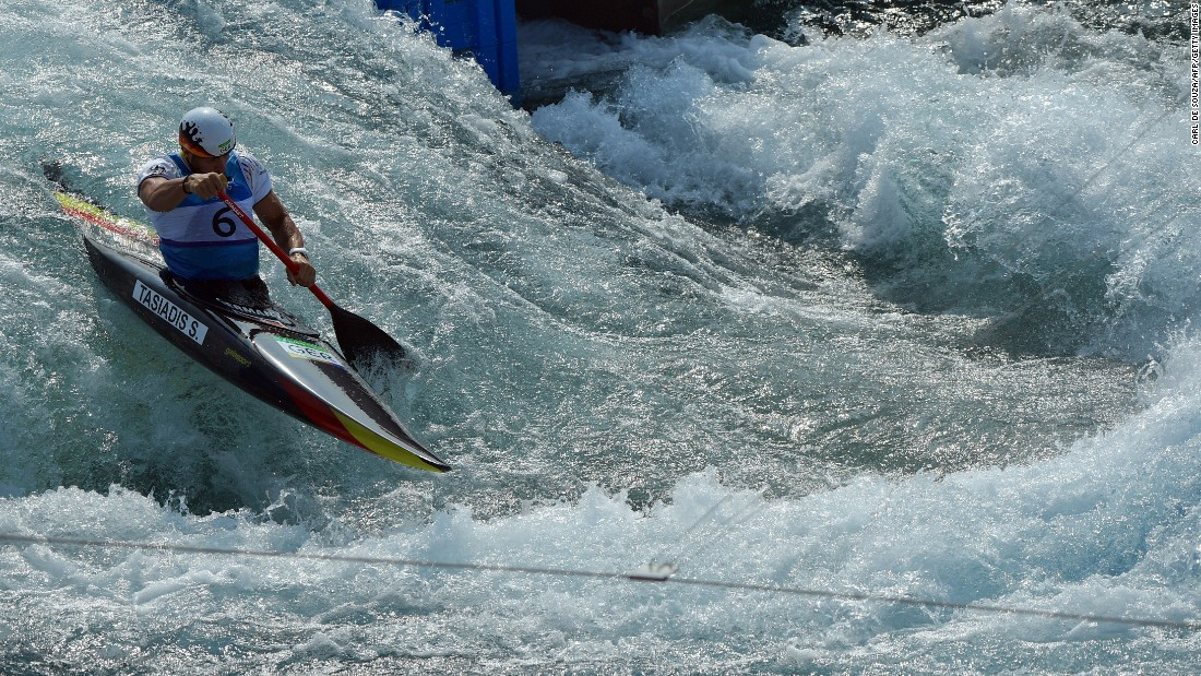 Germany's Sideris Tasiadis competes in the C-1 slalom.