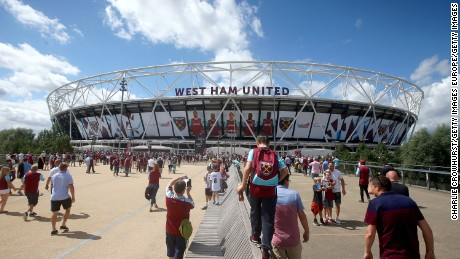 The revamped Olympic Stadium, now occupied by Premier League soccer team West Ham United.
