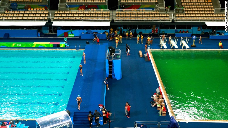 General view of the diving pool at Maria Lenk Aquatics Centre on day 4 of the Rio 2016 Olympic Games on August 9.