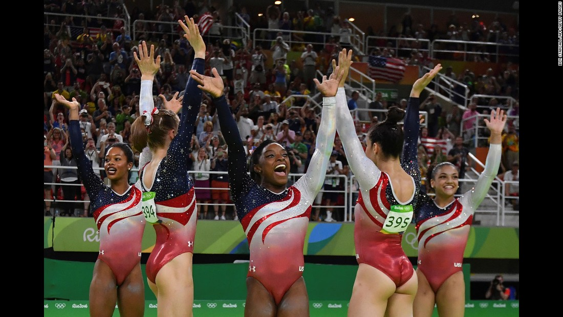 "U.S. gymnasts -- from left, Gabby Douglas, Madison Kocian, Simone Biles, Aly Raisman and Laurie Hernandez -- celebrate after <a href=""http://www.cnn.com/2016/08/09/sport/womens-gymnastics-usa-team-simone-biles-rio-2016-olympics/index.html"" target=""_blank"">winning the team all-around.</a> The United States also won gold in 2012."
