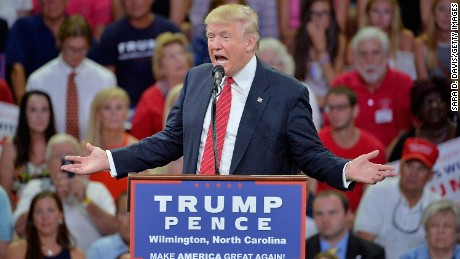 WILMINGTON, NC - AUGUST 9:  Republican presidential candidate Donald Trump addresses the audience during a campaign event at Trask Coliseum on August 9, 2016 in Wilmington, North Carolina. This was TrumpÕs first visit to Southeastern North Carolina since he entered the presidential race. (Photo by Sara D. Davis/Getty Images)