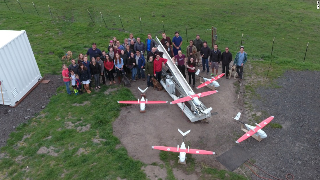 Zipline drones deliver vaccines and blood for transfusions directly to hospitals and clinics in approximately 30 minutes.
