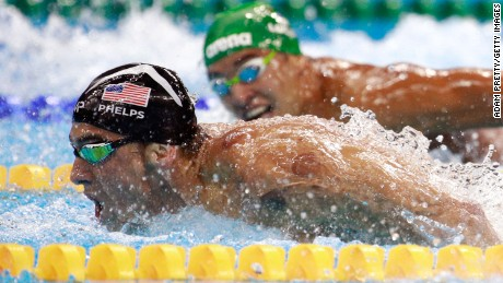 Michael Phelps of the United States leads Chad le Clos of South Africa in the men's 200m butterfly final on August 9 in Rio de Janeiro, Brazil.