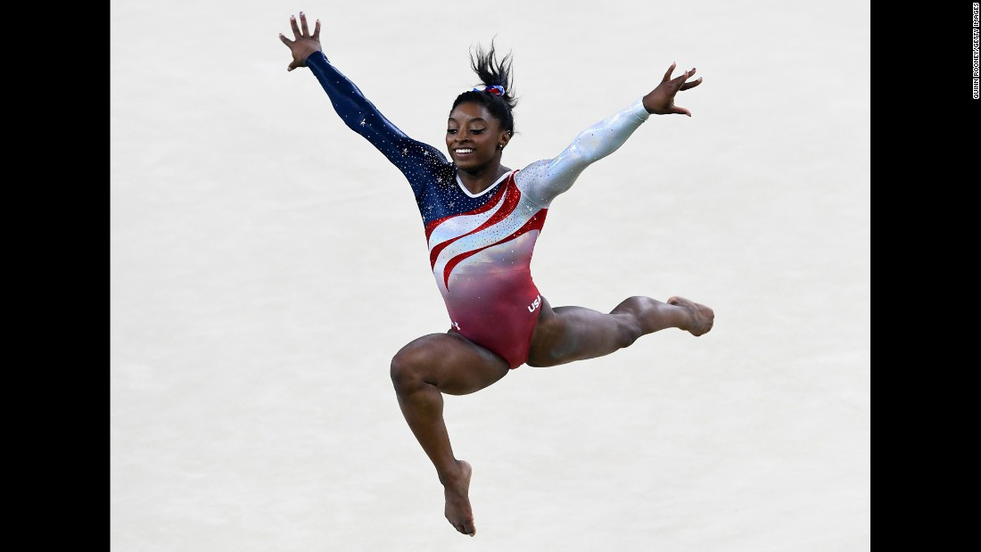 "The move that bears her name is part of a spectacular floor exercise maneuver. ""The Biles"" is a leap through the air that includes three elements: 1. a double layout (a layout is when the body is stretched out fully); 2. a half-twist, when Biles shifts her weight to turn her body; 3. a blind landing."