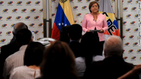 The head of Venezuela's National Electoral Council(CNE), Tibisay Lucena, speaks during a working meeting in Caracas on August 9, 2016.  The electoral power of Venezuela announced Tuesday that the collection of four million signatures required to call a recall referendum against President Nicolas Maduro would be in late October, which virtually precludes consultation this yea / AFP / JUAN BARRETO        (Photo credit should read JUAN BARRETO/AFP/Getty Images)