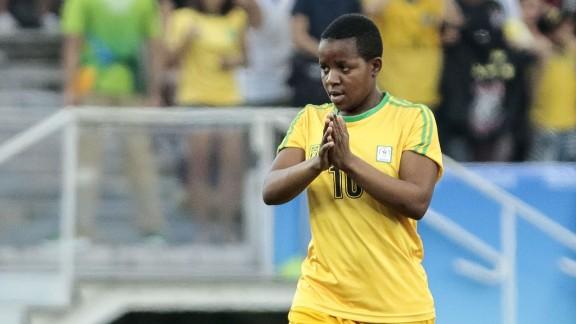 Mavis Chirandu of Zimbabwe celebrates her goal against Canada on Saturday in the Olympics.