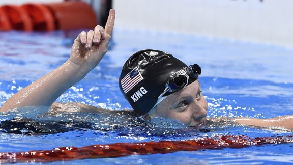 U.S. swimmer Lilly King reacts after winning the 100-meter breaststroke semifinal on Sunday, August 7. King beat Russia's Yulia Efimova in both their semifinal and final faceoff after what had been billed as an Olympic grudge race.