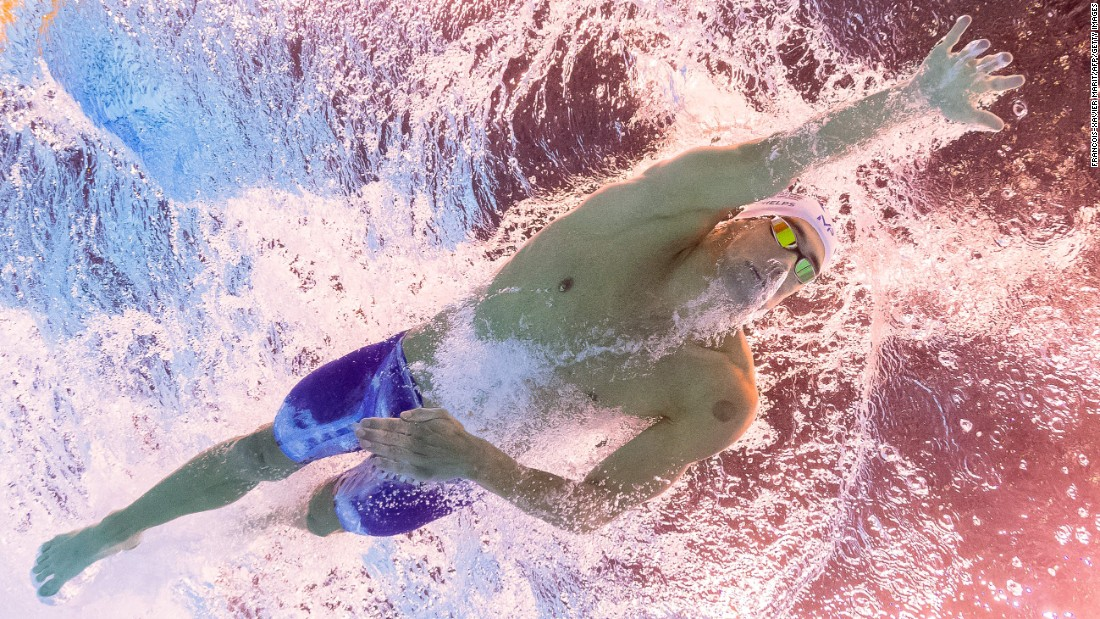 Phelps takes part in a qualifying race in Rio for the 200-meter individual medley.