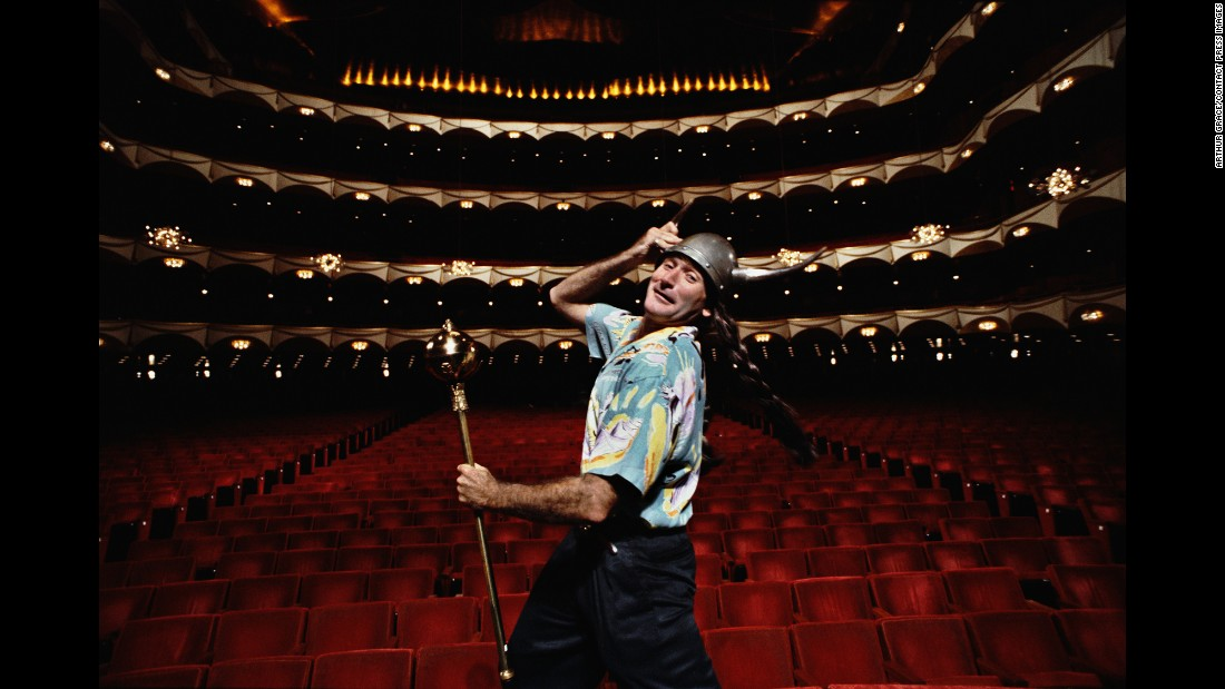 "After Grace spent a month on the road with Williams for the 1986 Newsweek story, the comedian asked him to shoot the cover for what would be Williams' Grammy-winning album ""A Night at the Met."" This picture was taken during a publicity shoot for Williams' August 1986 show at New York's Metropolitan Opera House."