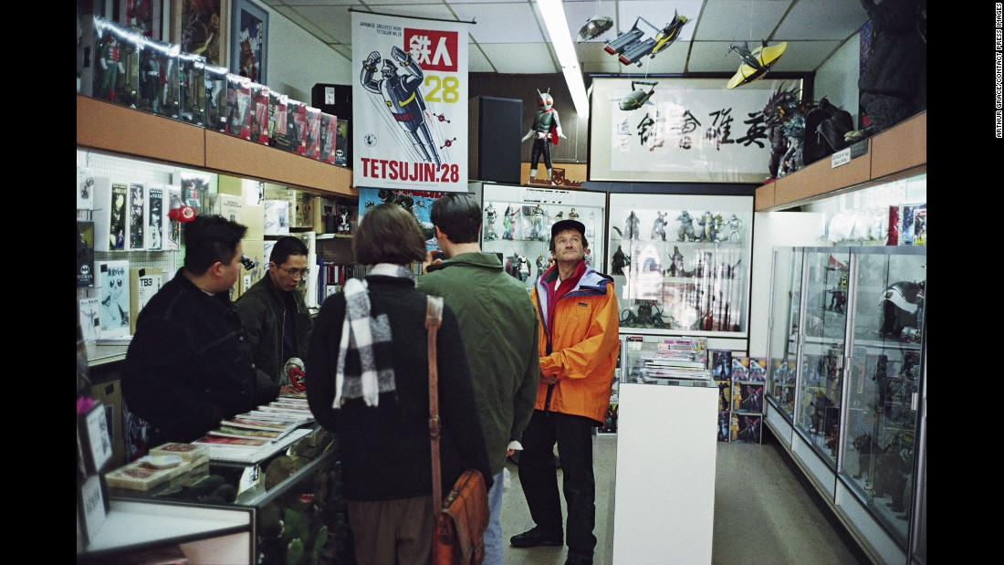 The entertainer visits one of his favorite toy stores, Heroes Club, in San Francisco in 1993.