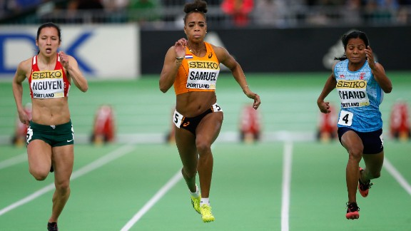 The Court of Arbitration for Sport ruled in Chand's favor, arguing that the IAAF had not proven that testosterone gives athletes an unfair advantage. The IAAF was given two more years to find evidence. Here, Chand (right) competes in the Women's 60 meters heats during the 2016 IAAF World Indoor Championships in Portland, Oregon.