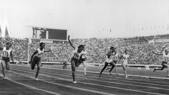 """Pictured, far right, is Ewa Klobukowska of Poland, during the women's 100m final at the 1964 Tokyo Olympics. Klobukowska helped set a world record in the women's 4x100m relay. However, her record was discounted in 1967 after the IAAF found her to have """"one chromosome too many"""" -- an extra Y chromosome, in addition to the traditional XX female chromosomes -- during a gender test."""