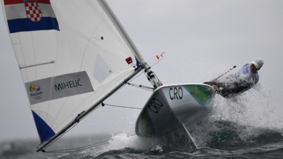 Croatian sailor Tina Mihelic competes in the women's laser radial class.