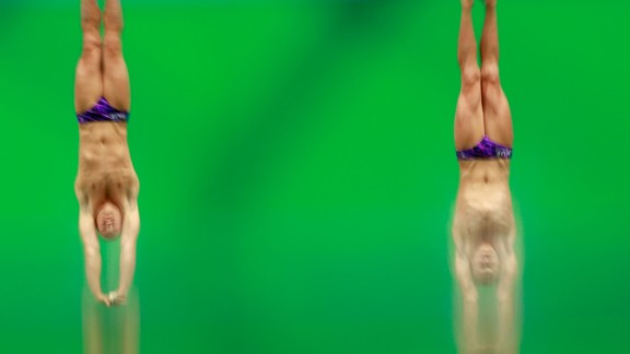 Evgeny Kuznetsov and Ilya Zakharov, synchronized divers from Russia, compete in the 3-meter springboard final.