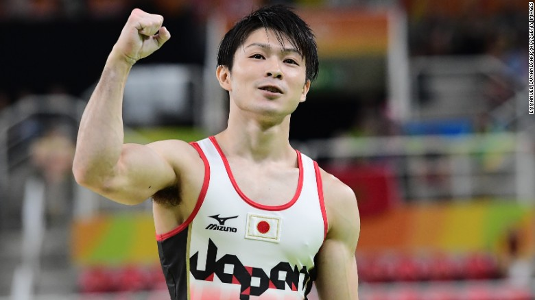 Japan's Kohei Uchimura reacts after competing in the pommel horse event of the men's individual all-around final of the Artistic Gymnastics at the Olympic Arena during the Rio 2016 Olympic Games in Rio de Janeiro on August 10, 2016. / AFP / Emmanuel DUNAND        (Photo credit should read EMMANUEL DUNAND/AFP/Getty Images)