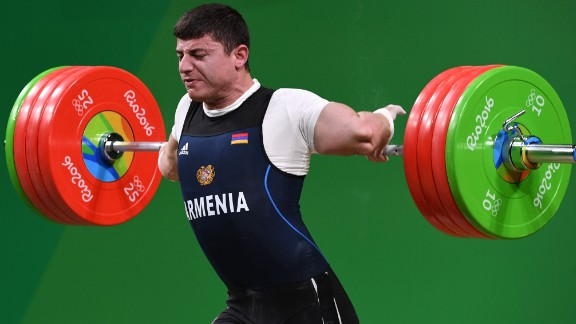Armenia's Andranik Karapetyan was competing in the Men's 77kg weightlifting competition at the Rio 2016 Olympic Games when his elbow gave way on August 10, 2016.