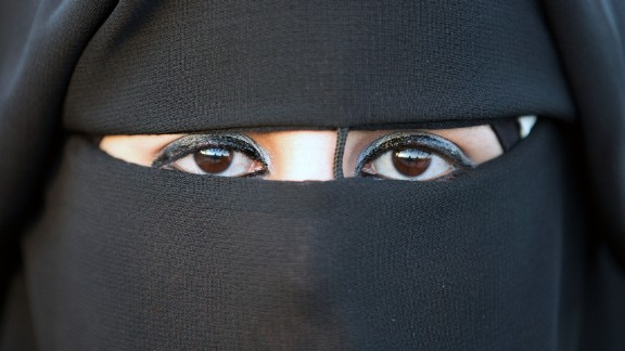 Niqab: The full-face veil exposes only the eyes. A Palestinian bride in Jericho wears this one.