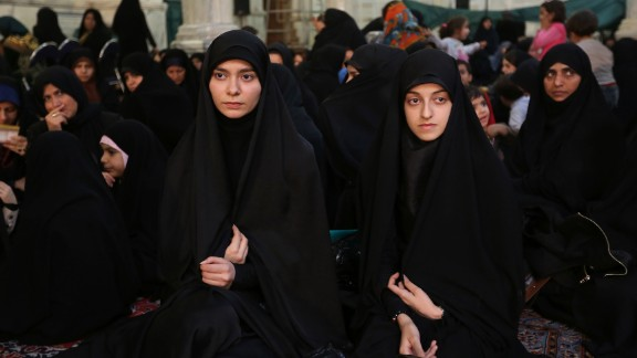 Chador: The full-body black garment leaves the face exposed. These Iranian women are wearing chadors at a political meeting in Tehran.