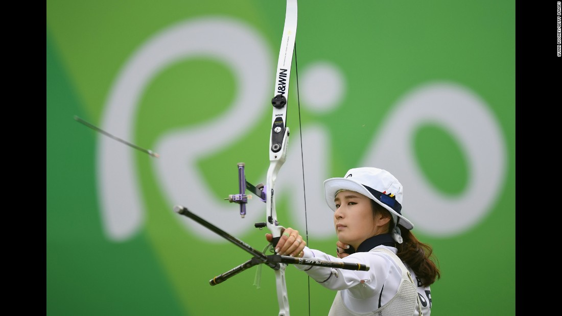 South Korea's Ki Bo-bae competes in the individual archery competition. She ended up with the bronze.