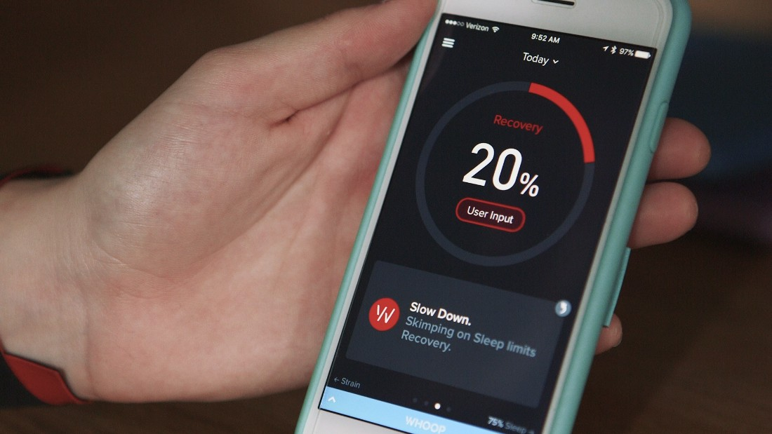 The WHOOP app allows coaches, trainers and athletes to monitor an athlete's training level. A color-coded score helps determine if an athlete should continue training or let the body rest.
