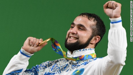 Kazakhstan's Nijat Rahimov was very happy with his gold.