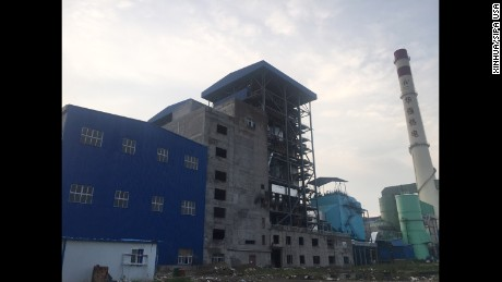 (160811) -- DANGYANG, Aug. 11, 2016 (Xinhua) -- Photo taken by cellphone on Aug. 11, 2016 shows the explosion site at a power plant in Dangyang, central China's Hubei Province. At least 21 people were killed and five others were injured, three seriously, after a pipeline explosion hit a power plant in central China's Hubei Province Thursday afternoon, local authorities said. (Xinhua) (zyd) (Photo by Xinhua/Sipa USA)