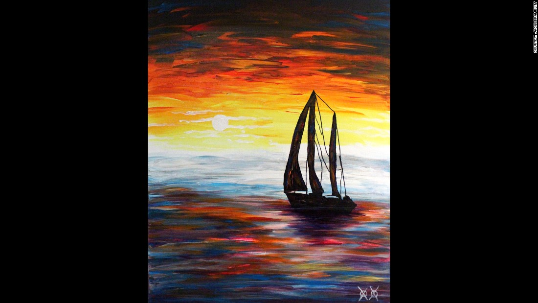 """Cast Off"": ""Sailboats are a theme I come back to time and again. I love the symbolism of freedom they represent. In this piece, the sky and water are actually the colors that I heard while listening to some music performed by Galactic, an amazing New Orleans jazz band."""
