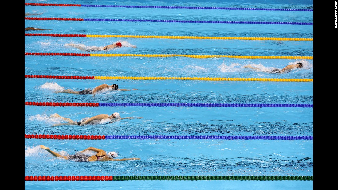 U.S. swimmer Katie Ledecky blows away the field in the 400-meter freestyle on Sunday, August 7. She set a new world record in the process.