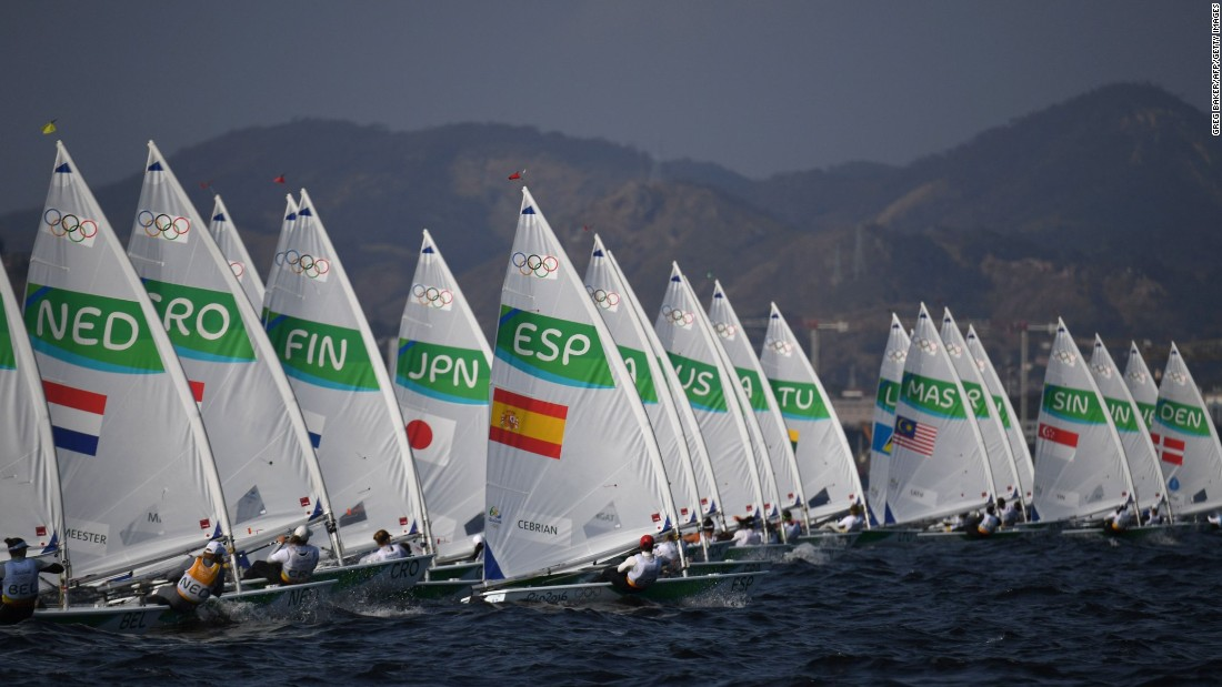 Competitors sail during the women's Laser Radial event.