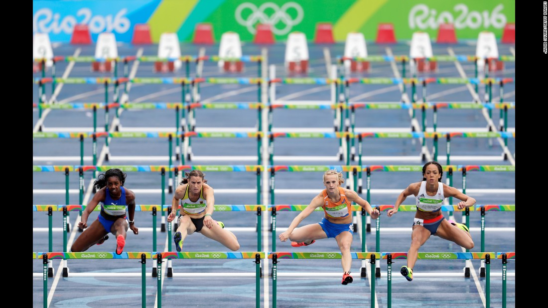 From left, Cuba's Yorgelis Rodriguez, Germany's Claudia Rath, the Netherlands' Anouk Vetter and Great Britain's Katarina Johnson-Thompson compete in the 100-meter hurdles during the heptathlon.
