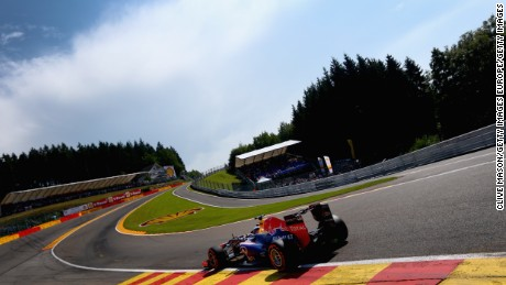 SPA, BELGIUM - AUGUST 23:  Sebastian Vettel of Germany and Infiniti Red Bull Racing drives thru Eau Rouge during practice for the Belgian Grand Prix at Circuit de Spa-Francorchamps on August 23, 2013 in Spa, Belgium.  (Photo by Clive Mason/Getty Images)