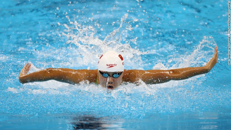 RIO DE JANEIRO, BRAZIL - AUGUST 06:  Xinyi Chen of China competes in heat four of the Women's 100m Butterfly on Day 1 of the Rio 2016 Olympic Games at the Olympic Aquatics Stadium on on August 6, 2016 in Rio de Janeiro, Brazil.  (Photo by Lars Baron/Getty Images)